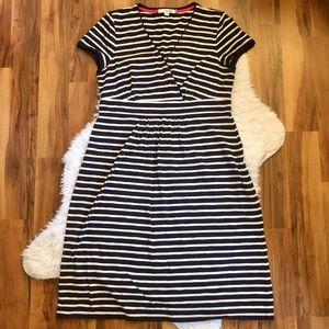 Boden Navy & White Striped Short Sleeve Dress 10R